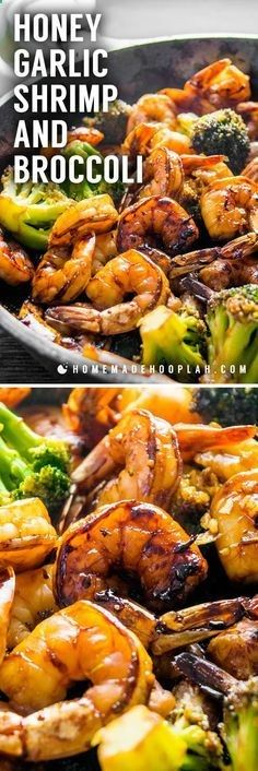 Honey Garlic Shrimp and Broccoli! Browned honey garlic shrimp with tender broccoli - a super easy dinner that packs a wallop of flavor with simple, common ingredients.   HomemadeHooplah.com