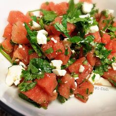 Spicy Watermelon Salad with Feta Crumble and Cilantro. Few Ingredients!  Great for summer!  #Salads #Refreshing #Feta #Cilantro
