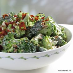 Easy, Low Carb Bacon Broccoli Salad is a popular crunchy side perfect for lunch, brunch and as a dinner side. | low carb, gluten-free, dairy-free, Paleo, Keto | momcanihavethat.com