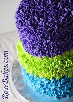Video Tutorial: Messy Buttercream Ruffles Cake in Peacock Colors (using Wilton #104 Petal Tip)