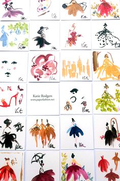 TINY WORKS OF ART - PAPERFASHION-cute idea to make mini vignettes of art for a card.