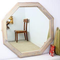 34-inch Teak and Agate Grey Oil Octagon Mirror (Thailand)  $210