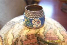 small open top thimble with petit point material wrap | eBay