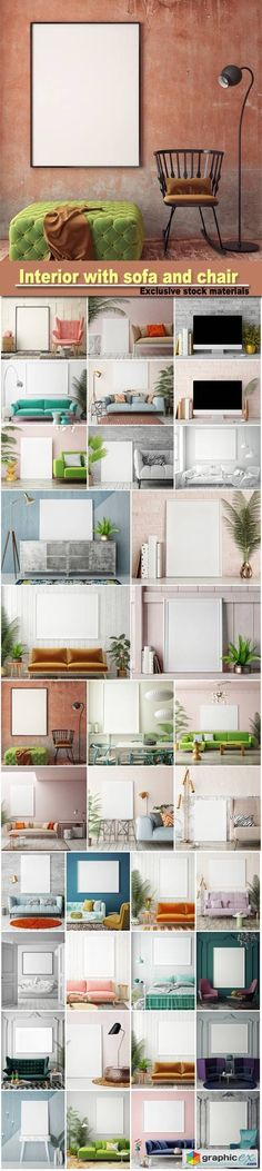Interior with sofa and chair 3d illustration  stock images