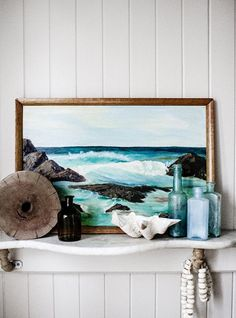Ocean painting artwork / coastal cottage shelf display / beach shells / sea glass / driftwood / Interiors - Kara Rosenlund