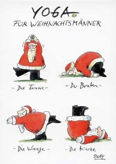 Yoga for Santa Clauses - Weihnachten - Merry Christmas Happy Holidays, Christmas And New Year, Winter Christmas, Christmas Time, Christmas Cards, Christmas Stuff, Yoga Cartoon, Yoga For Kids, Christmas Inspiration