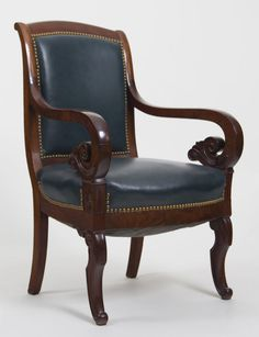 1stdibs.com | Set of Six Antique Mahogany & Leather French Arm Chairs