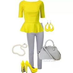 Yellow and Grey outfit.