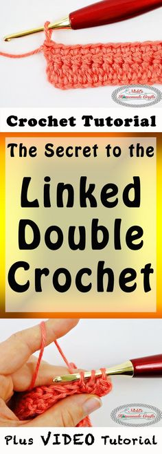 Linked Double Crochet - Crochet Tutorial - Photo and Video - Nicki's Homemade Crafts #linked #doublecrochet #crochet #crochettutorial #learn #howto #diy #easy #best #secret