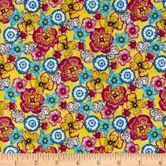 Pretty In Pink Floral Yellow - Cute fabric for show shirt