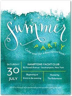 Lettering | Beachfront Bash - Party Invitations in Wave | Petite Alma