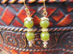 Olive Green Jade beaded Earrings with Peach by NaturesRandMDesign