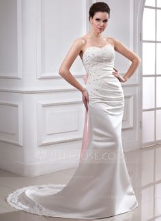 A-Line/Princess Sweetheart Chapel Train Satin Wedding Dress With Ruffle Lace Sash Beading Bow(s) (002011729) - JJsHouse