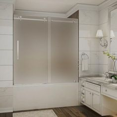 Frosted Sliding Bathtub Glass Doors. See More. Aston Moselle 56 In. To 60  In. X 60 In. Completely Frameless Sliding