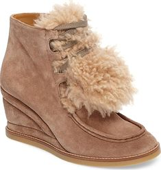 b2696569f18 Women s Chloe Peggy Genuine Shearling Wedge Bootie in Latte Brown Suede. A  wrapped wedge ramps
