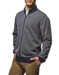 #Cardigan #fullzip uomo in #lana #merino con motivo #jacquard, un capo pratico e #casual, caldo e leggero allo stesso tempo