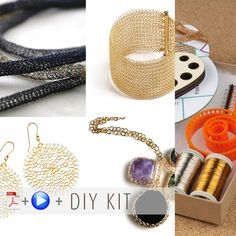 The Wire crochet DIY jewelry kit is the easiest way to start wire crocheting , the kit includes 4 wire crochet patterns in video and PDF files : YoolaFlower - learn how to make wire crochet flowers Crochet Diy, Wire Crochet, Learn To Crochet, Crochet Hooks, Diy Jewelry Kit, I Love Jewelry, Wire Jewelry, Jewelry Making, Beginner Crochet Projects