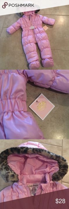 NWT Juicy Couture snowsuit Light pink and leopard fur trim hood snowsuit from Juicy Couture. Size 3-6 months. NWT! Juicy Couture Other