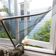 Allow fresh air to flow through your home by selecting this Black UV Resistant Fiberglass Mesh Magnetic Removable Insect Screen. Double Hung Windows, Sliding Windows, Casement Windows, Aluminum Awnings, Aluminium Windows, Window Types, Mosquitos, Net Curtains, Windows