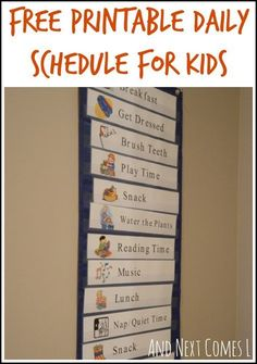 Free printable daily schedule for kids from And Next Comes L.  Parent made materials to use at home.