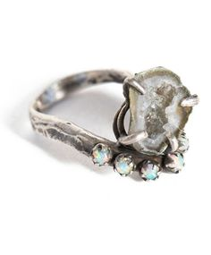 Unearthen Silver Geode Lune Ring