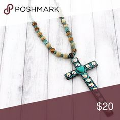 """Patina & Turquoise Cross Necklace Make a statement with this eye-catching necklace!  33"""" Long with 3"""" Extension Patina Brown Colored Beads Iridescent Crystal Accents Faux Turquoise Stone Heart 3.75"""" Long x 1.75"""" Wide Pendant Lobster Claw Closure Jewelry Necklaces"""