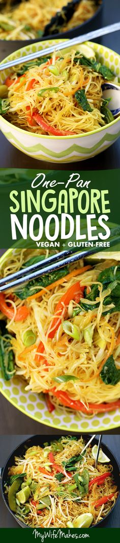 Simple One Pan Singapore Noodles recipe made from rice vermicelli (thin rice noodles), curry powder, bean sprouts, bok choy, spring onion, carrots, red pepper, snow peas, and a ton of other nutritious and easy-to-get ingredients. Vegan, gluten-free, and healthy! #singaporenoodles #noodles #recipe #onepan #asian #vegan #glutenfree #ricenoodles #vermicelli