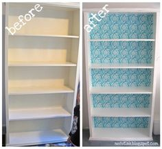 refinishing a bookcase with fabric and mod podge.