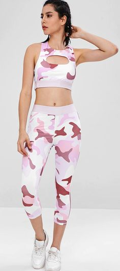 Camo Racerback Gym Bra And Leggings Suit - Multi Running Tank Tops, Yoga Tank Tops, Workout Tank Tops, Cute Gym Outfits, Sport Outfits, Beautiful Clothes, Beautiful Outfits, Camo Tank Tops, Gym Bra