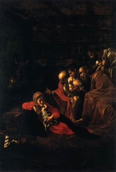 CARAVAGGIO, Italian Baroque Era (ca.1571-1610)_Adoration of the Shepherds 1609 Baroque Painting, Baroque Art, Italian Baroque, Italian Painters, Italian Artist, Carravagio Paintings, Michelangelo Caravaggio, Web Gallery Of Art, Catholic Art