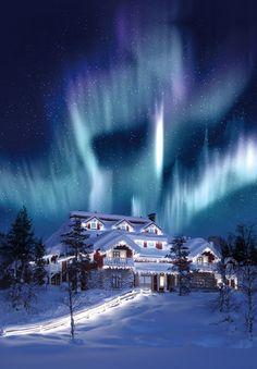 Northern lights, Santa's Village, Lapland, Finland http://www.travelbrochures.org/241/europa/travel-finland