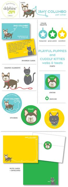 Colorful pet sitter logo and branding by Erika Firm / Analog Creative Co.