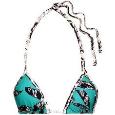 Vix - Kelp Mini Pipe Printed Triangle Bikini Top ($49) ❤ liked on Polyvore featuring swimwear, bikinis, bikini tops, turquoise, white triangle bikini top, bikini bottom swimwear, lace bikini bottoms and neck-tie