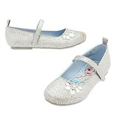 Anna and Elsa Flat Shoes for Kids | Disney Store Anna and Elsa find themselves the center of attraction as they're surrounded by glittering silver on these <i>Frozen</i> flats. Faceted jewels add even more sparkle to these shoes that will brighten any winter wonderland.
