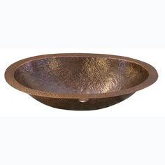 Barclay Products Self-Rimming Oval Bathroom Sink in Hammered Antique Copper