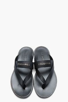DSQUARED2 // Black Leather Logo Double-Strap Sandals