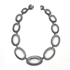 Oxidized sterling silver and diamond necklace by Elisa Bongfeldt. Gallery Lulo.