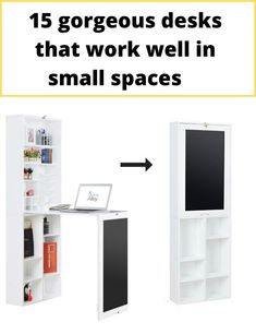 White wall cabinet with fold down desk