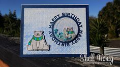 #mftstamps, Polar Bear Pals, shaker card, Happy Birthday circle frame, Gansai Tambi paints