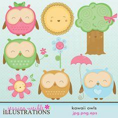 Kawaii buhos lindo Gráfico Digital para el por JWIllustrations