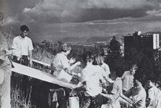 Freshmen painting the O on Skinner's Butte during homecoming 1967. From the 1968 Oregana (University of Oregon yearbook). www.CampusAttic.com
