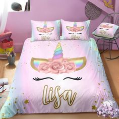 Shop for unicorn bedding set, unicorn personalized bedding set. We have a lot of styles of unicorn bedding sets. Find your kid's unicorn bedding sets now! Unicorn Bed Set, Unicorn Rooms, Unicorn Gifts, Unicorn Land, 3d Bedding Sets, Cute Bedding, Luxury Bedding Sets, Comforter Sets, King Comforter