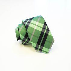 Lime & Navy Plaid Skinny Men's Tie w/Pocket Square 7625