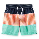 Cool colorblock stripes and boyish colors are perfect for his beach style. Pair these trunks with a matching rash guard to complete the look.<br>