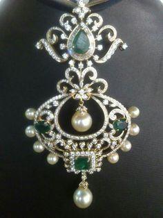 Emerald, pearl, diamond brooch