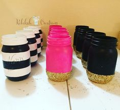 I feel like I spend a lot of my time making Kate Spade themed Jars these days 🤣🎀♠️✨ They are so gorgeous though! It's never a bad evening making these babies! 30th Birthday Parties, Sweet 16 Birthday, Mom Birthday, Birthday Ideas, Kate Spade Party, Kate Spade Bridal, Party Fiesta, Sweet 16 Parties, Baby Shower
