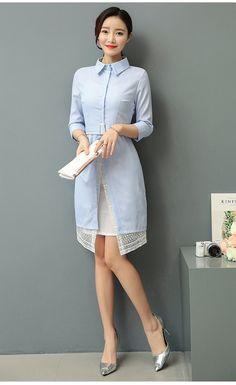 Fashion Light Blue Stripe Dress Woman Lace Inner Half Sleeve Belted Office  Dresses Elegant Workwear Office 1302b0674841