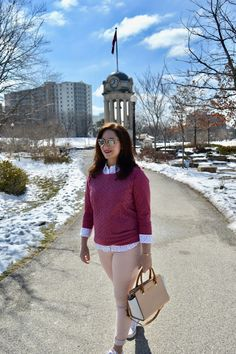 Spring outfit in pink and blush