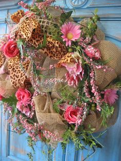 SPRING LEOPARD BOUQUET Spring wreath in burlap by faucettandflame, $64.99