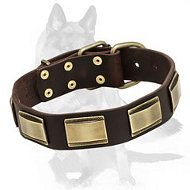 #Exquisite #German #Shepherd #Leather #Collar with #Brass #Plates Starting at: $44.90